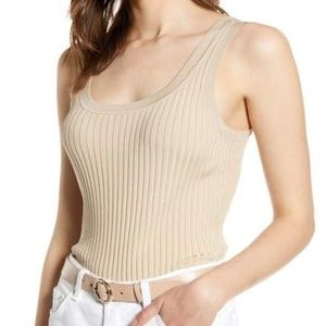HALOGEN Tank Ribbed Sweater